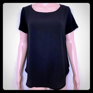Black Short Sleeve Scoop Neck T-Shirt High Low M
